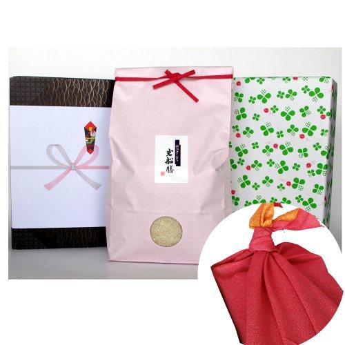 新潟県産コシヒカリ (米袋:ピンク・包装紙:緑・風呂敷:赤)2キロ