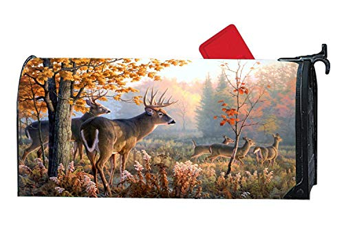 """Magnetic Mailbox Cover, Personalized Mail Wrap Mailbox Makeover Cover, Weatherproof Vinyl, Fits Standard 6.5"""" x 19"""" Mailboxes - Whitetail Deer Hunting"""