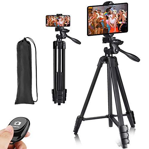 Victiv 145cm Stativ für Phone/Tablet, Ultraportables Reisestativ für Mobiltelefone, Leichtes Kompaktes Stativ mit Clip für Smartphone oder Tablet mit Fernbedienung für Videoaufnahmen