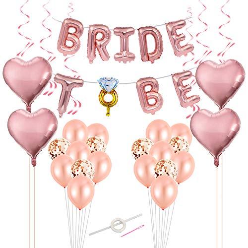 LOPOTIN 26 Stück Braut to Be Deko JGA Dekoration Rosegold Luftballon Set Herz Folienballon Konfetti Latexballons mit Plastiknadel Schnur Ballon Accessoires für Junggesellenabschied Party