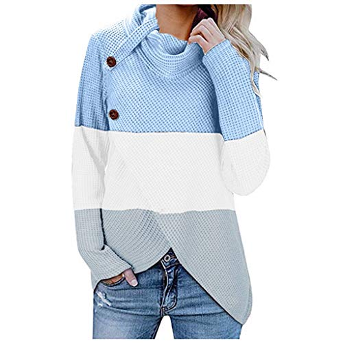 WOCACHI Womens Knit Sweater Sale, Turtleneck Chunky Cowl Neck Button Asymmetric Split Hem Wrap Patchwork Pullover Jumper 2020 Fall Winter Fashion Clothes Ladies Warm Shirts Sweatshirt