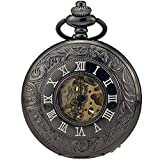 ZHAOJ Reloj de Bolsillo Retro para Hombre con Cadena, Collar con Colgante de Reloj con Movimiento mecánico Antiguo Hueco clásico, Padre, Esposo, Abuelo