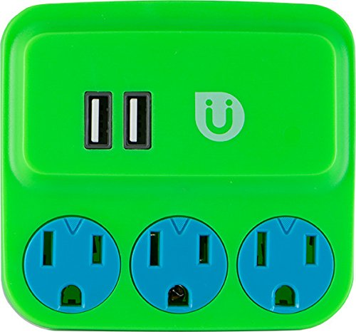 Uber Power Tap Charging Station, 3 Grounded Outlets, 2 USB Charger Ports, 2.1A, 3 Prong, Phone Holder, Perfect Outlet Extender for Kids Rooms, Twist-to-Close Safety Covers, UL Listed, Green/Blue, 25113