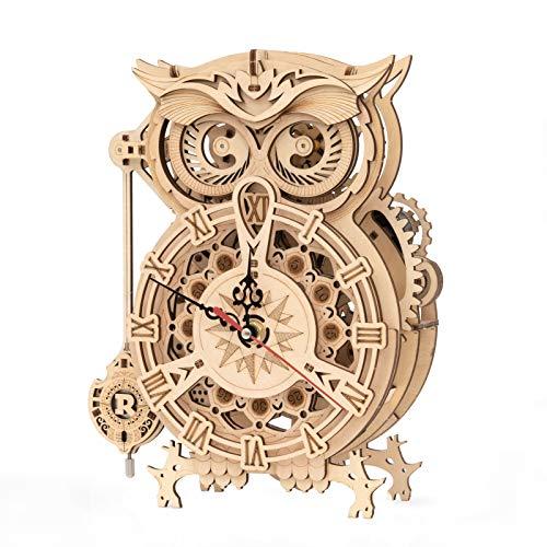 ROKR Owl Clock Modellbausatz | Holz Modellbau | 3D Holzpuzzle Erwachsene