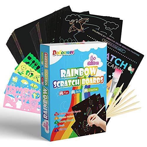 Doloowee Scratch Paper Art Set, 70PCs Rainbow Magic Black Scratch Off Paper Arts and Crafts Arts...