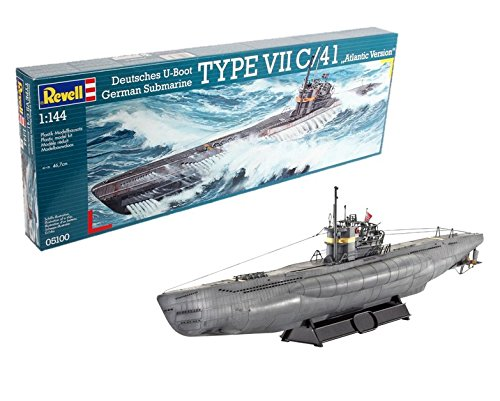 """Revell Modellbausatz Schiff 1:144 - Deutsches U-Boot TYPE VII C/41 \""""Atlantic Version\"""" im Maßstab 1:144, Level 4, originalgetreue Nachbildung mit vielen Details, 05100"""