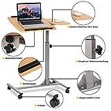 COSTWAY Laptoptisch Notebooktisch Pflegetisch Rolltisch Betttisch Sofatisch, auf Rollen, höhenverstellbar und neigungsverstellbar, 95x64x45cm - 3