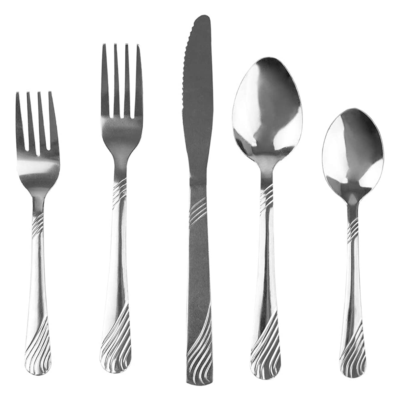 Home Basics FS45237 El River 20 Piece Stainless Steel Silverware Flatware Cutlery Dinner Set, Elegant Mirrored Finish Utensils Service for 4 Includes Knife/Fork, Silver