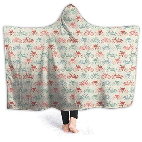 Timdle Sherpa tragbare Decke Poncho für Erwachsene Frauen M?nner Vintage Style Bike Muster warm, weich, gemütlich, kuschelig, Komfort Geschenk, Keine ?rmel 50W von 40H Zoll (mit Kapuze)