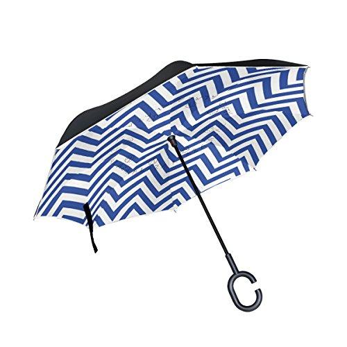 Guarda-chuva invertido My Daily de camada dupla para carros, guarda-chuva invertido azul e branco chevron à prova de vento UV para viagem ao ar livre