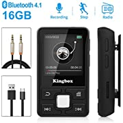 MP3 Player 16GB with BT 4.1 Supports TF up to 128GB, HIFI Sound and Touch Button Music Player Display 1.5 inch for Sport, Pedometer, FM Radio, Recording, Video, E-book