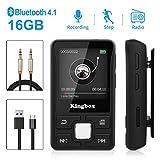 MP3 Player, Kingbox 16GB Bluetooth Mini MP3 Player Sport, tragbar HiFi Verlustfreier Sound Musikspieler, Unterstützung FM Radio, Bilder, Aufnahmen, E-Buch