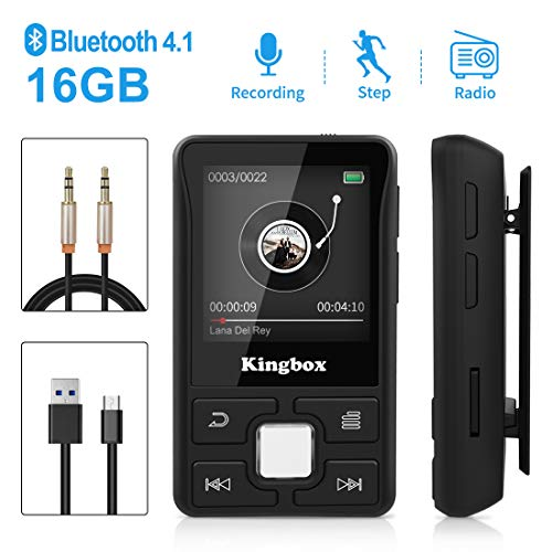 Lettore MP3,Bluetooth 16GB Mini Sport MP3 Player,Portatile Lossless musica con Radio FM, Foto Registrazione E-book,Supporto Fino a 128GB