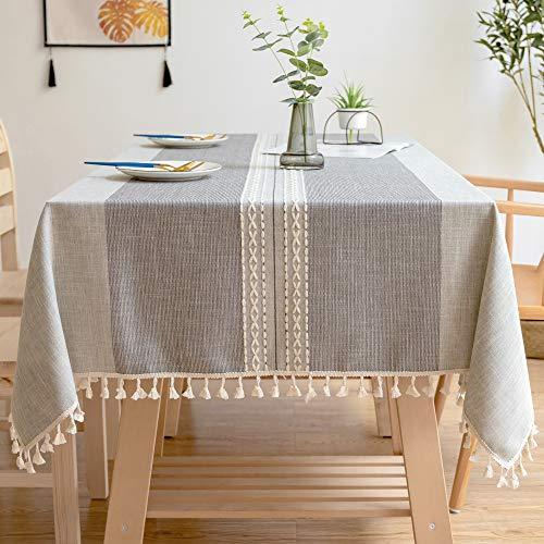 Wondder Tischdecken Baumwoll Leinen Tischdecke Quaste Tischdecke für Party Bankett Esstisch Abdeckung (Graue Doppelstreifen, 110x170cm(43.3x66.9inch))
