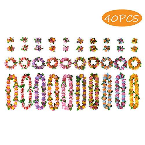 BangShou 40Stk Bunten Hawaiiketten Hawaii Blumenketten mit 10 Halsketten, 10 Elastischen Stirnbänder und 20 Armbänder für Party Favors, Strand und Themenbezogenen Geburtstage