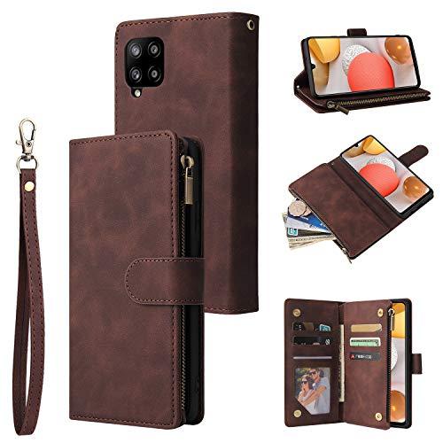 UEEBAI Funda para Samsung Galaxy A12 5G, diseño retro con cremallera, piel sintética de poliuretano de alta calidad, suave, cierre magnético, tarjetero, función atril, con correa, color marrón