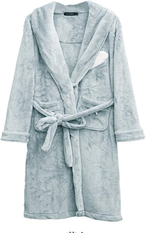 NAN Liang Bathrobe Women's Thick Warm Nightdress 100% Cotton Pajamas Luxury Home Clothes (color   bluee, Size   M)