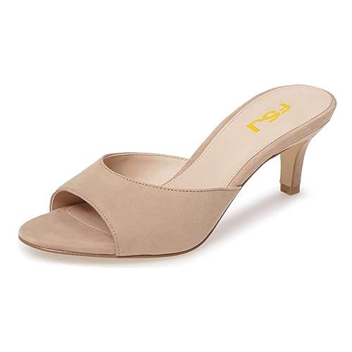 e5a17c3422b FSJ Women Comfort Low Heel Mules Peep Toe Slide Sandals Slip On Dress Pump  Shoes Size