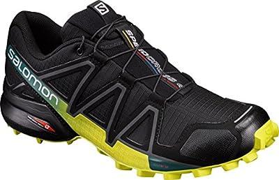 Salomon Men's Speedcross 4 Trail Running Shoes, Black/Everglade./Sulphur Spring, 9 M US