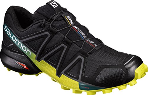 Salomon Speedcross 4, Zapatillas de Trail Running para Hombre, Negro/Amarillo (Black/Everglade/Sulphur Spring), 42 2/3 EU
