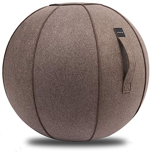 XGYLVFEI 65cmSittingBallChairforOffice,Dorm,and Home,Pilates Exercise YogaBallwithCover, Lightweight Self-Standing Ergonomic Posture Activating Exercise Ball Solution with Handle and Pump (Coffee)