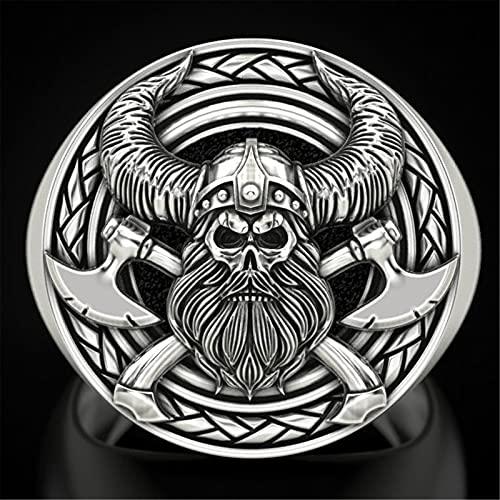 HHW Anillo De Calavera De Mitología Nórdica Vintage, Joyería Punk para Hombres Vikingos,9