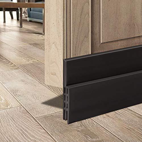 Door Draft Stopper 2 Pack Under Door Seal for Exterior/Interior Doors, Door Sweep Strip Under Door Draft Blocker, Soundproof Door Bottom Weather Stripping, 2' W x 39' L