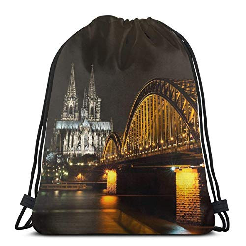 Lsjuee K ouml; ln Bei Nacht Mochila con cordón con Estampado 3D Bolso de Hombro No Tejido Durable Sports Gym Sack Cinch Bag 16.9 x 14 Pulgadas