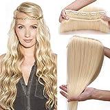 SEGO Extension a Clip Blond Cendré Cheveux Naturel [ Volume Epais ] - 40 CM 613#Blond Blanchi - Rajout Monobande Meche Humain Froid