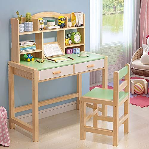 JW-LYYX Kinderstudientisch Schreibtisch und Stuhl Set Schule Massivholz Einfache Schreibtisch mit Lagerregal & Schubladen,A