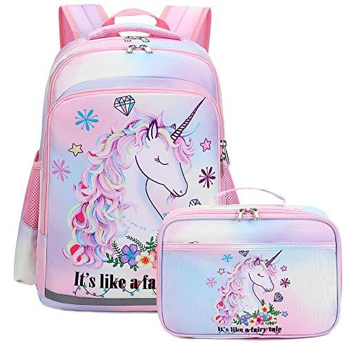 Kids Backpack for Girls Bookbag School Bag Preschool Kindergarten Toddler Rainbow Backpack with Lunch Box Tie Dye