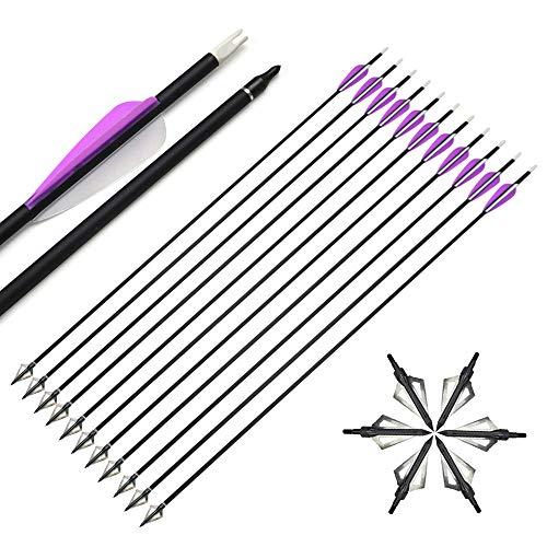 SHARROW 12pcs Flechas de Carbono 30 Pulgadas Spine 500 con Broadhead para Arco Compuesto Recurvo Flechas de Caza