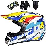 QDY Casco de Moto, Casco de Motocross para niños, Casco de Karting de Quad ATV, Casco de MTB de Cara Completa, Casco de Motocicleta con Guantes/Gafas/máscara