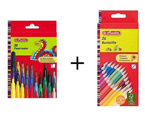 Herlitz Malstifte-Set / bestehend aus 24 Dreikant-Buntstifte + 30 Fasermaler