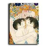 5d Fai da Te Pittura Diamante Kit 5D Diamante d'Arte,Gustav Klimt Mother Love Twins Baby Nordic Style CanvasPainting Poster e Stampa Wall Art Picture Living Room Decor Cuadros