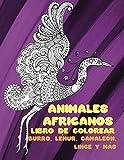 Animales africanos - Libro de colorear - Burro, lémur, camaleón, lince y más