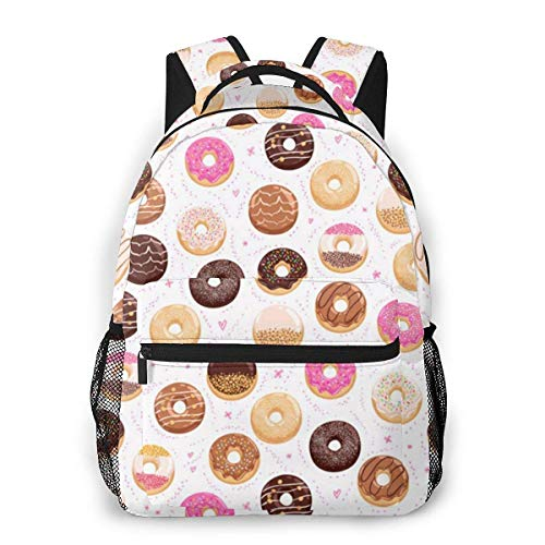 Lawenp Pink Donut Travel Laptop Backpack Business Anti Theft Slim Durable Laptops Backpack Water Resistant College School Computer Bag for Women & Men Fits 15.6 Inch Notebook