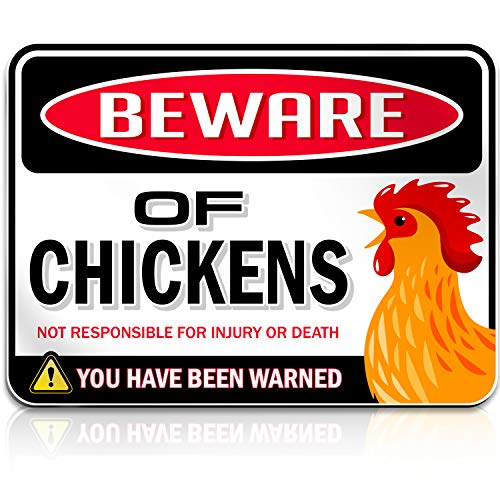 """Beware of Chickens Warning Sign 