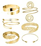 RIOSO 6 Pieces Arm Cuff Upper Arm Band Cuff Bracelet Bangle for Women Silver Gold Adjustable Armband Set