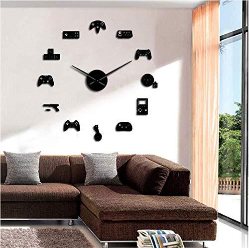 BBNNN Video Game Controller DIY Riesen Wanduhr Spiel Joysticks Aufkleber Gamer Wandkunst Videospiel Zeichen Junge Schlafzimmer Zimmer Spielzimmer Dekor 47 Zoll Vinyl