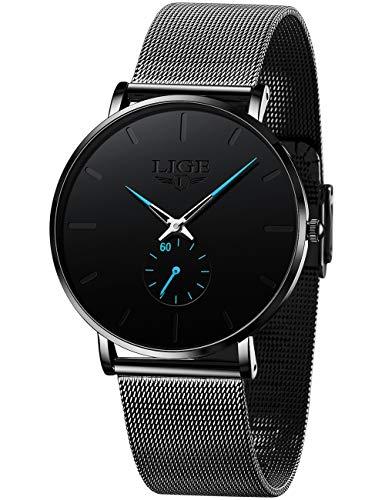 LIGE Herren Uhren Ultra-Dünn Wasserdicht Elegant Männer Damen Armbanduhr Herrenuhr Schwarz Blau Analoge Quarzuhr mit Edelstahl Mesh Armband