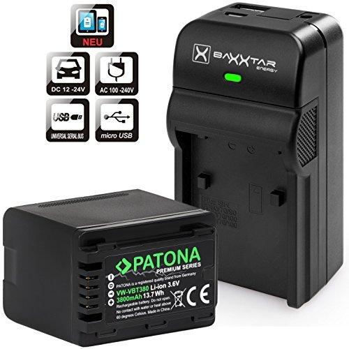 Baxxtar Razer 600 II Ladegerät 5in1 mit Patona Premium Akku - Ersatz für Akku Panasonic VW VBT380 (echte 3800mAh) - (Nicht für VXF11 VX11 V808)