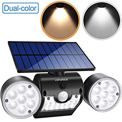 LOPURSUE Solar Light Outdoor, Dual -Color Solar Security Lights with Motion Sensor Dual Head Spotlights IP65 Waterproof 360°Adjustable Solar Powered Wall Lights for Yards Gardens and Garages?1pack?