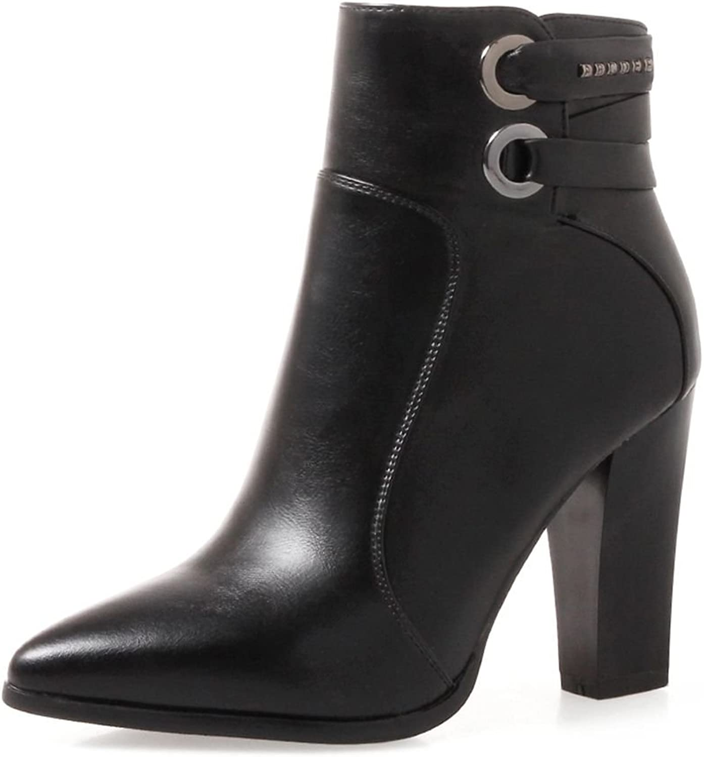 SaraIris Ankle Boots with Pointed-Toe Zipper Ankle Strap Chunky Heesl for Women