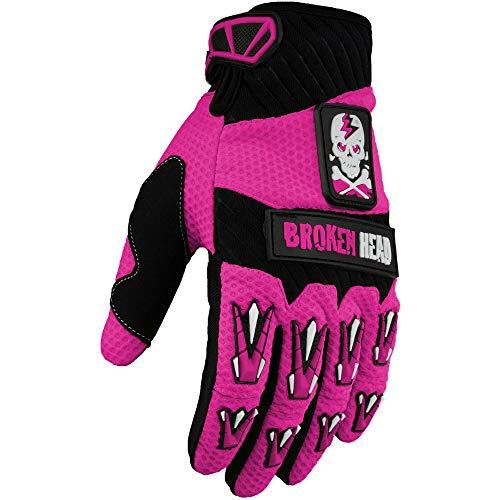 Broken Head MX-Handschuhe Faustschlag - Motorrad-Handschuhe Für Motocross, Enduro, Mountainbike - Pink - Größe M