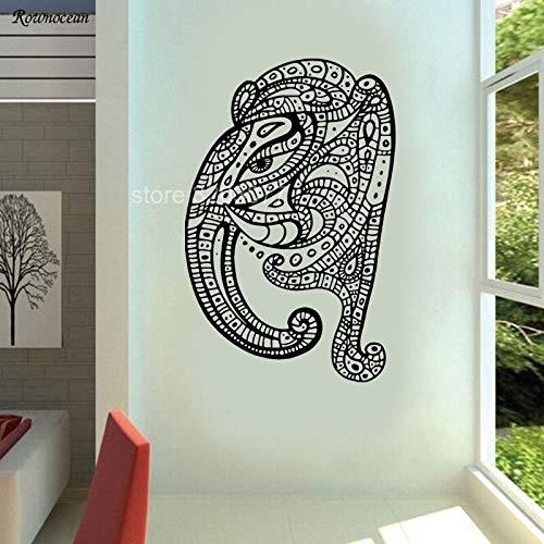 QQCYWZK Wandkunst Vinyl Aufkleber Raum Aufkleber Wandbild Dekor Elefant Yoga Hindu Ganesh 57x87cm