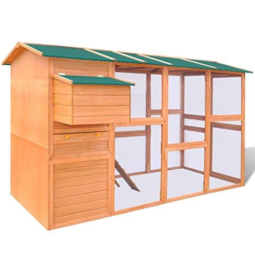 Festnight Hühnerstall Holz Hühnerhaus Hühnervoliere mit Rampe und Nistkasten 295 x 163 x 170 cm