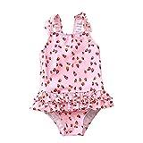 PWEINCY Toddler Girls Pink Ladybug One Piece Swimsuit Ruffle Skirt Bathing Suit Swimwear Sunsuit with Bow (4T/Tag XL)