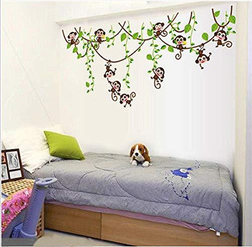 Detachable Dschungel Monkey Tree Wall Sticker PVC Kunst Vinyl Decal Kindergarten DIY