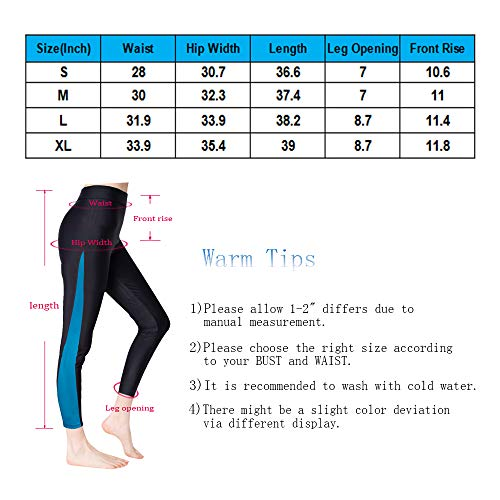 Scodi Women's Surfing Leggings Swimming High-Waisted Tights UPF 50+ Blue